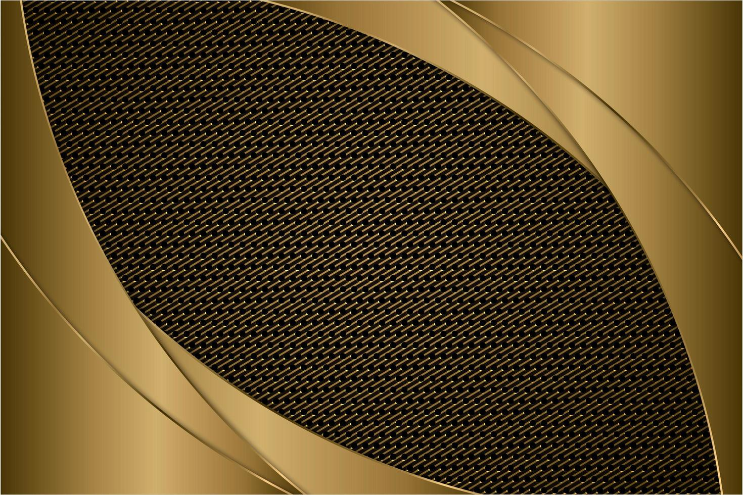 Metallic Gold gebogene Paneele mit Kohlefaser Textur vektor