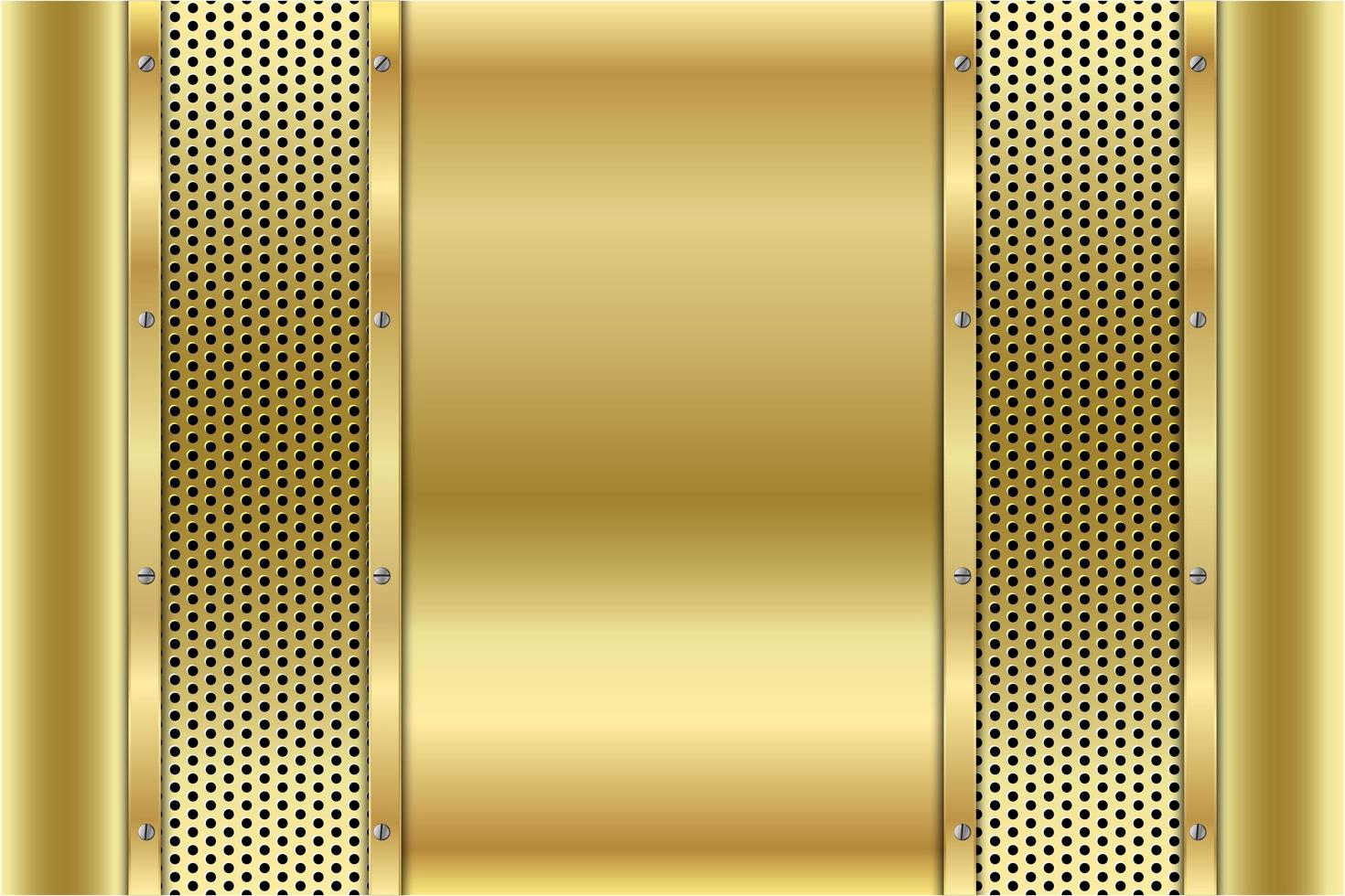 Metallic-Goldplatten mit Schrauben auf perforierter Textur vektor