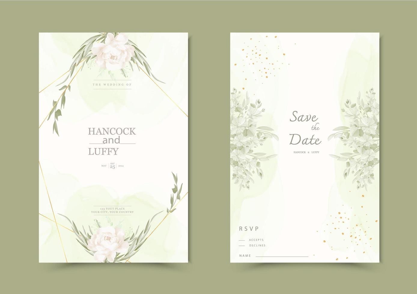 blommig bröllop inbjudningskort. vektor