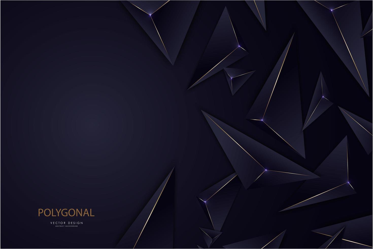 modernes Design der dunkelblauen und goldenen Linie 3d Dreiecke vektor
