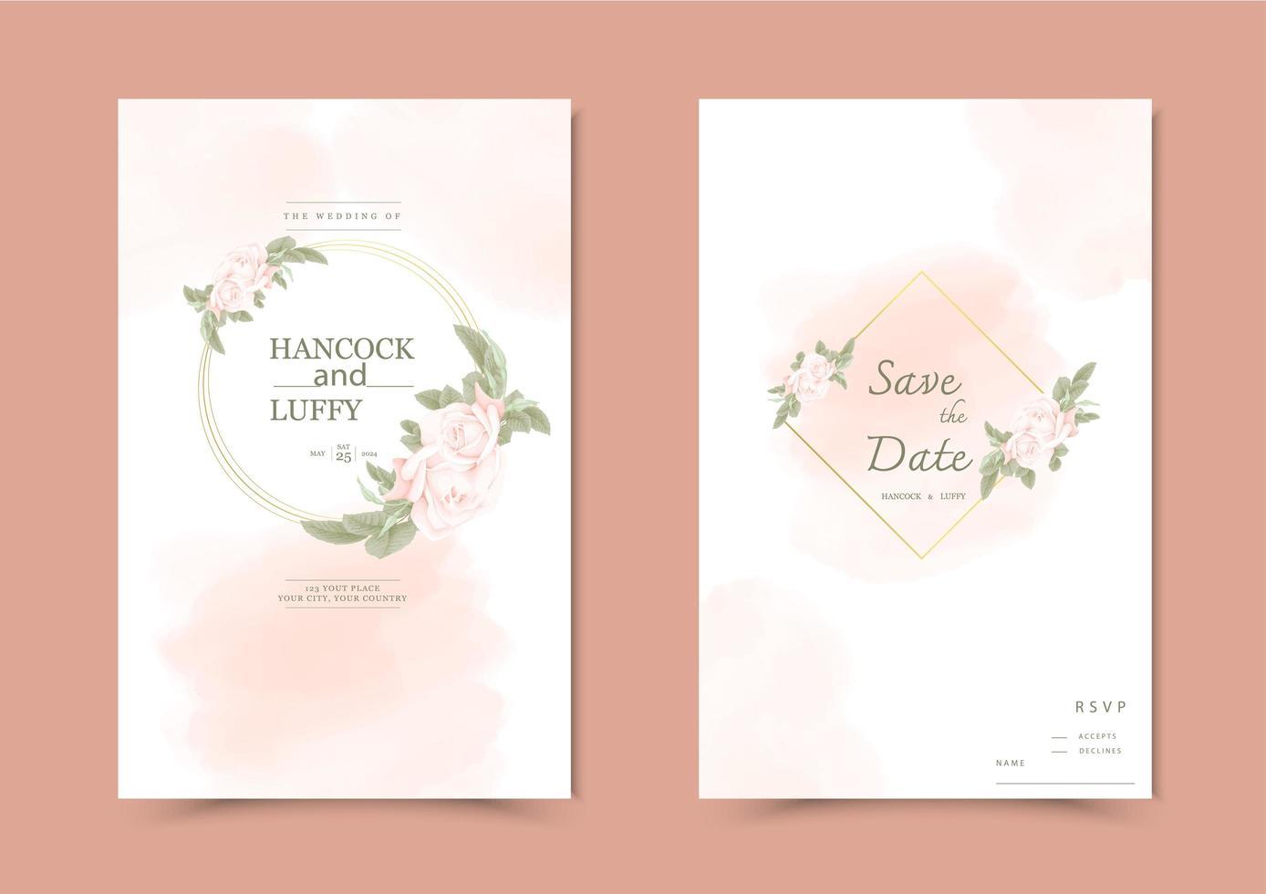 Blumenhochzeitseinladungskarte. vektor