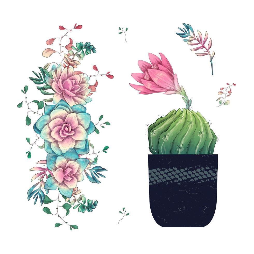 Sukkulenten und Blumen im Topf handgezeichnetes Aquarell vektor