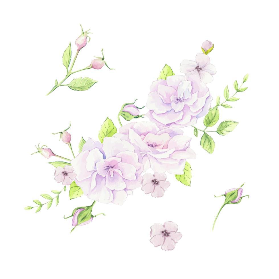 Aquarellstrauß von Hagebuttenblumen vektor