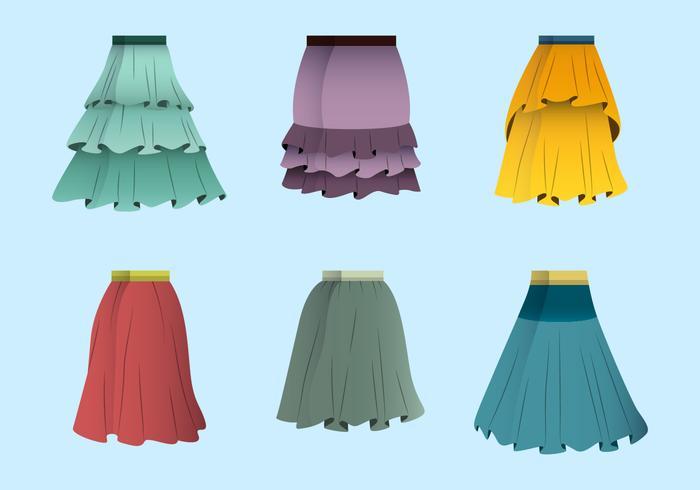 Färgglada Frills Kjol Vector Collection