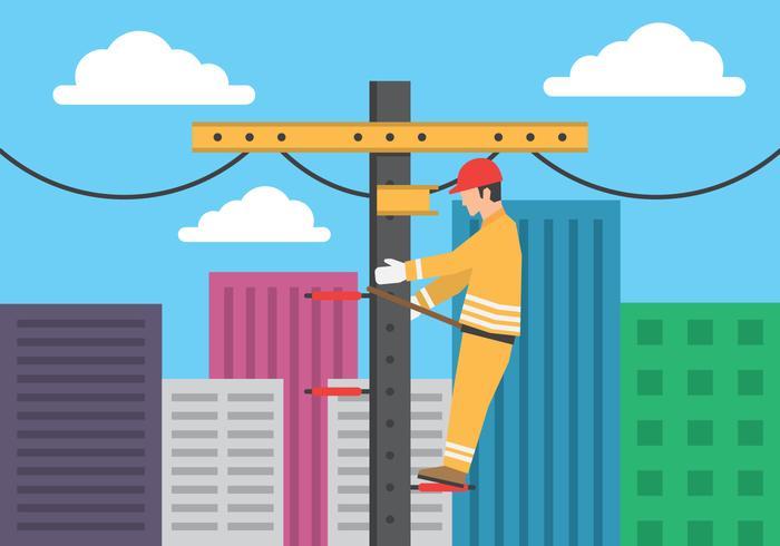 Elektriker, der mit Hochspannungsausrüstung auf Stromleitung-Stützabbildung arbeitet vektor