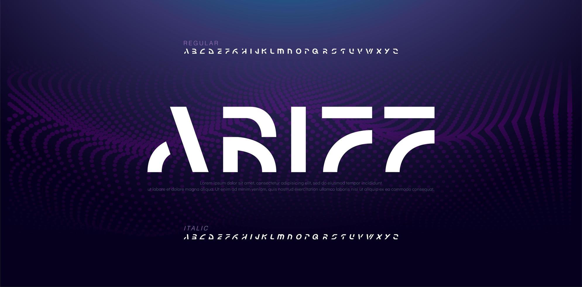 elektroniskt framtida kreativt teckensnitt vektor