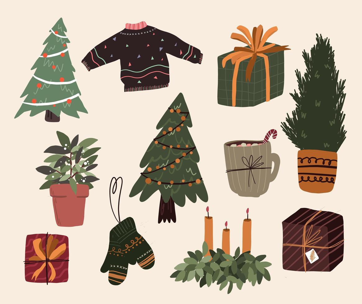 jul söt tecknad element inomhus dekor uppsättning vektor
