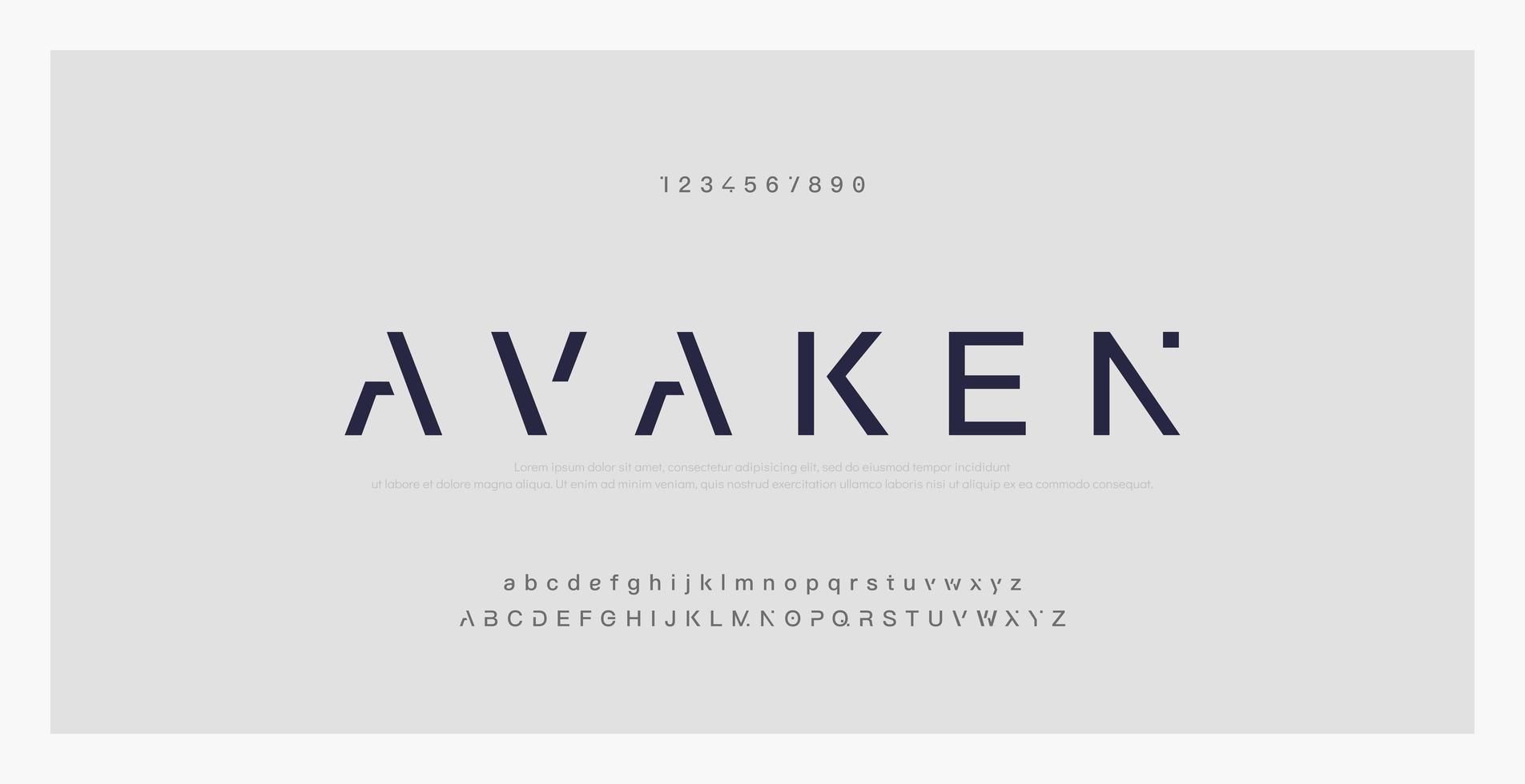 abstrakte minimale moderne Schriftart vektor