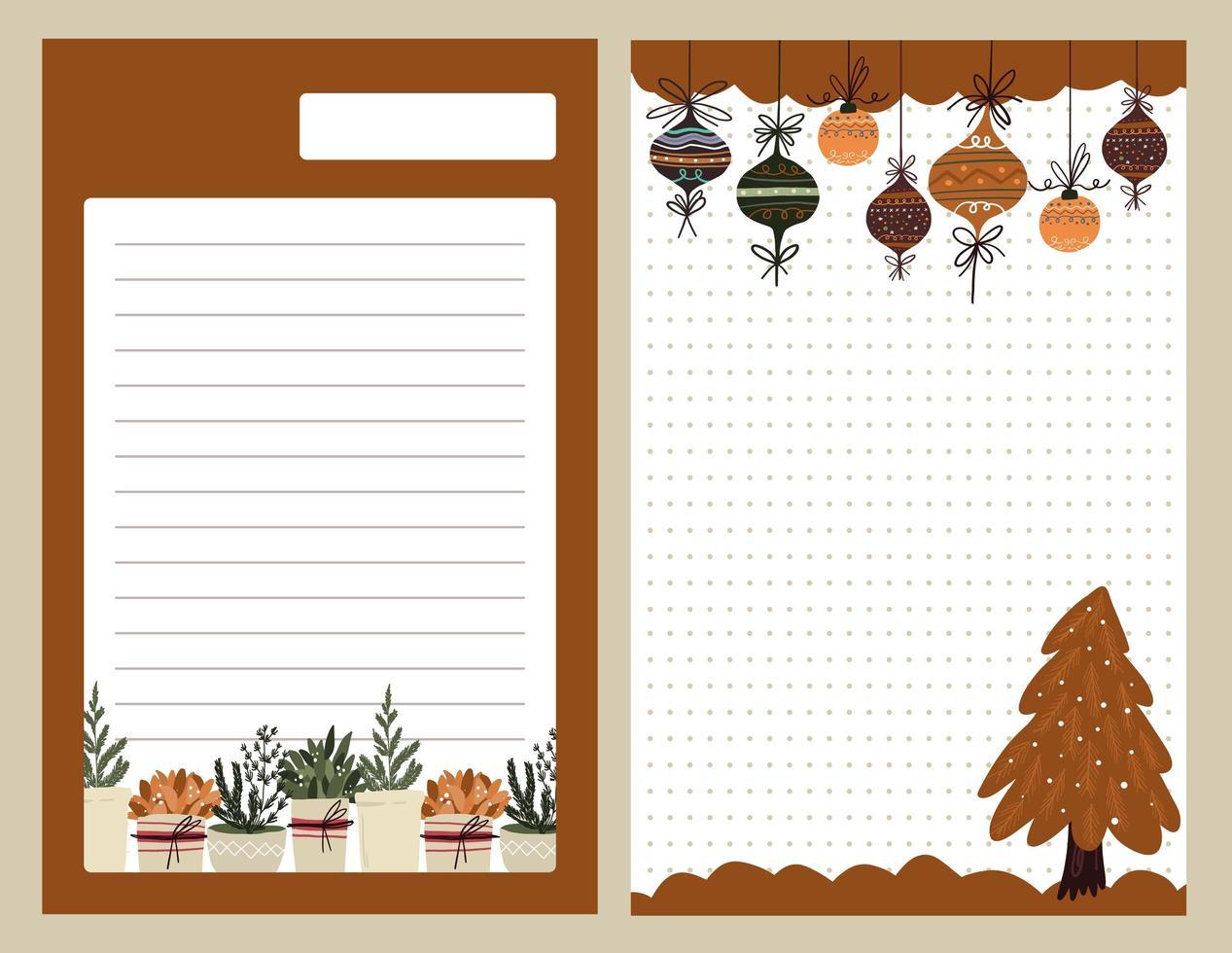 Weihnachtsfeiertagsaufkleber, Tagebuch, Notizen gesetzt vektor