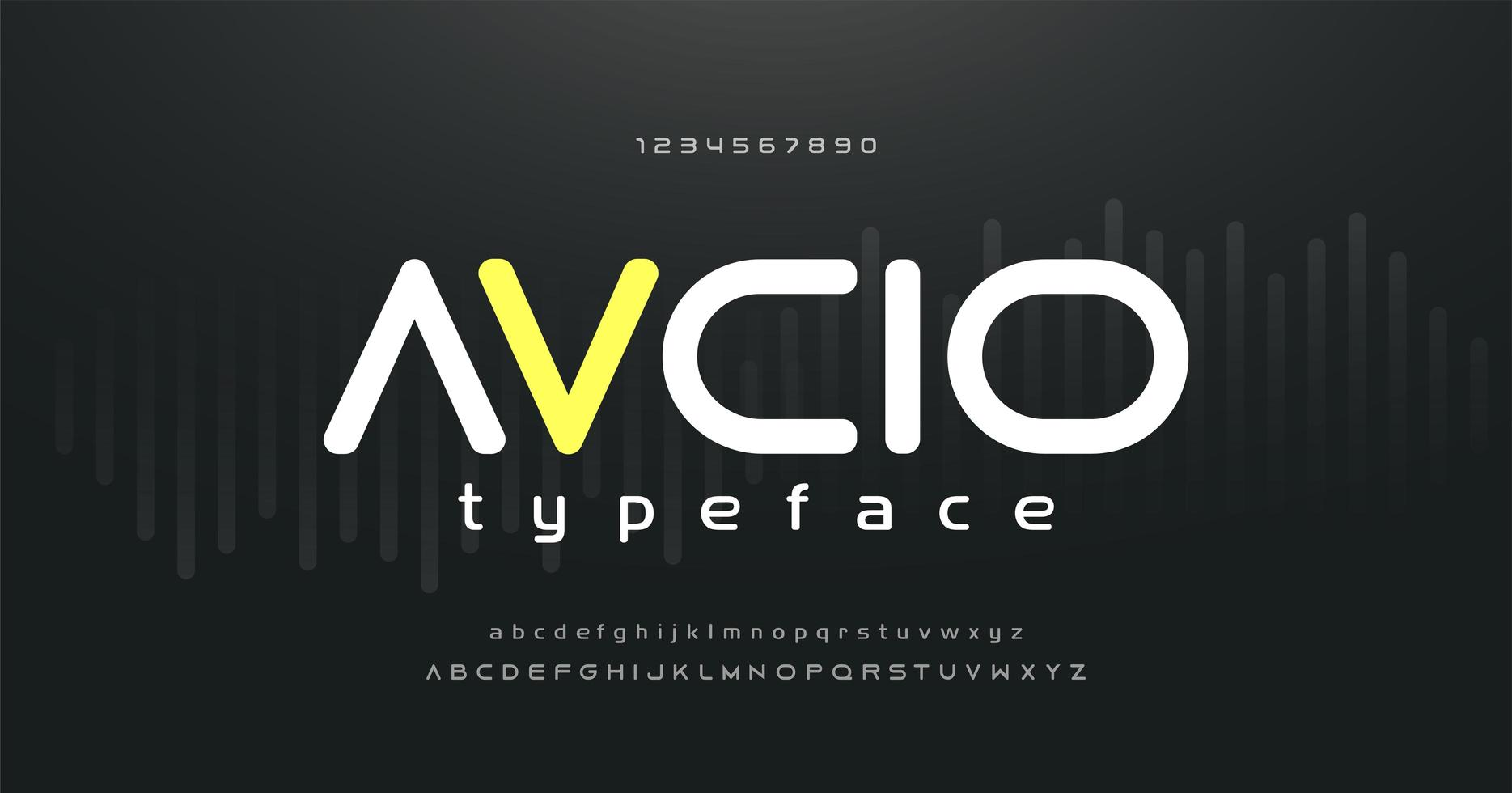 digitales Musik modernes Alphabet und Zahlenschrift vektor