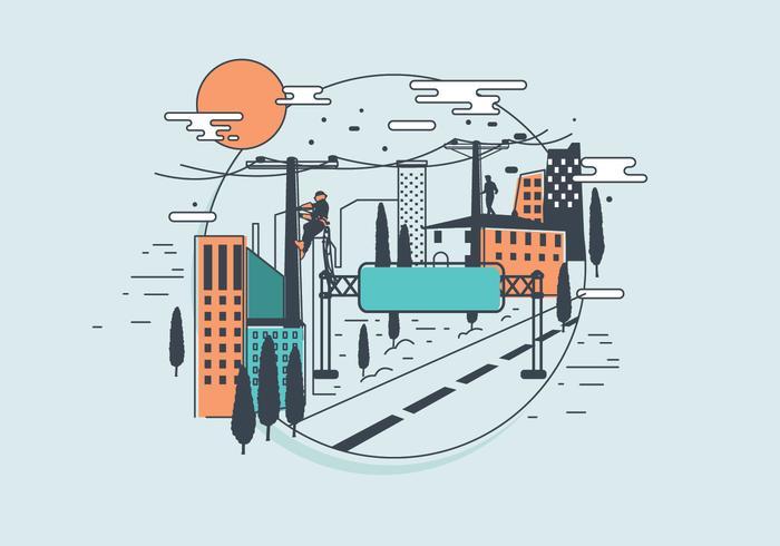 Lineman som arbetar i stadsvektorn vektor