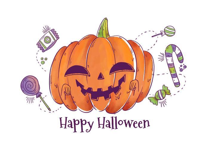 Scary Pumpkin Character Leende Vector