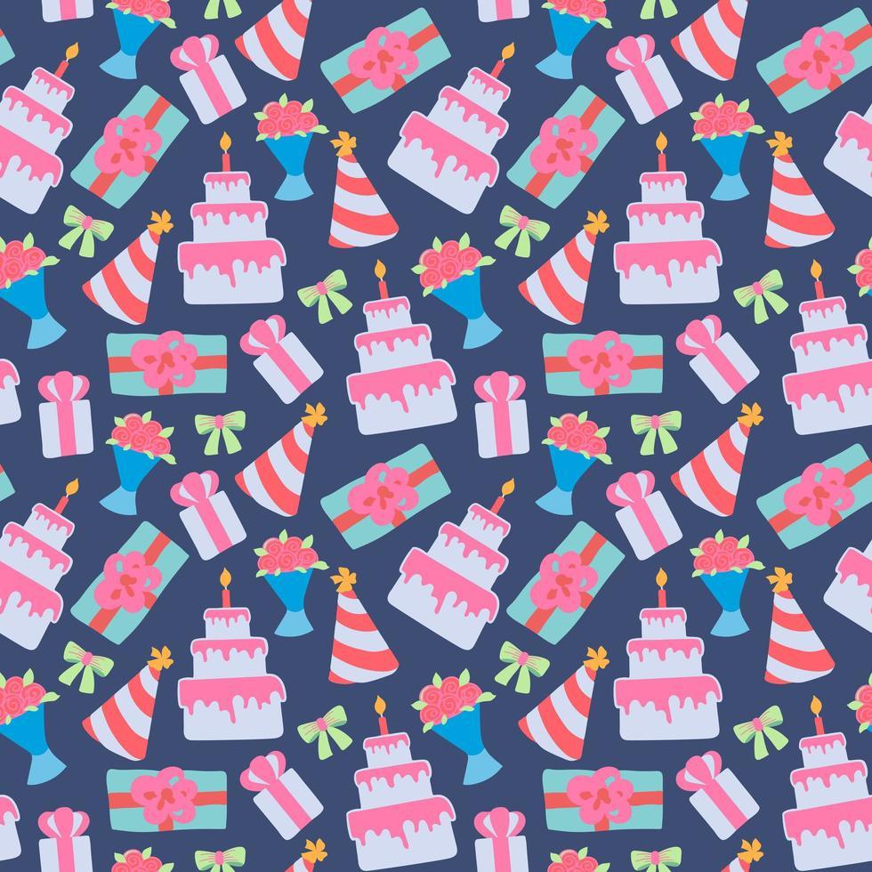nahtloses Muster mit Kuchen und Blumen vektor