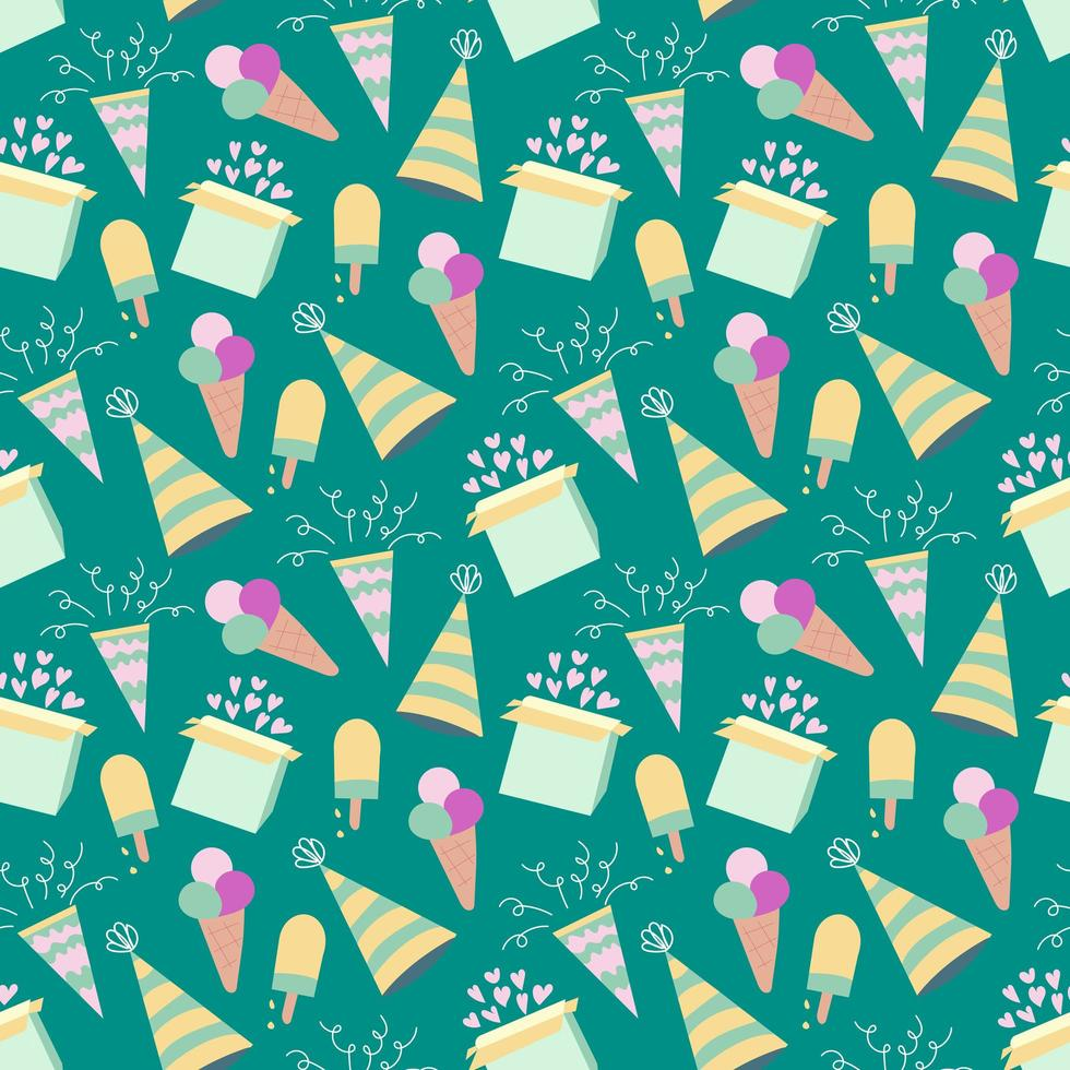 nahtloses Geburtstagsmuster mit Eis vektor
