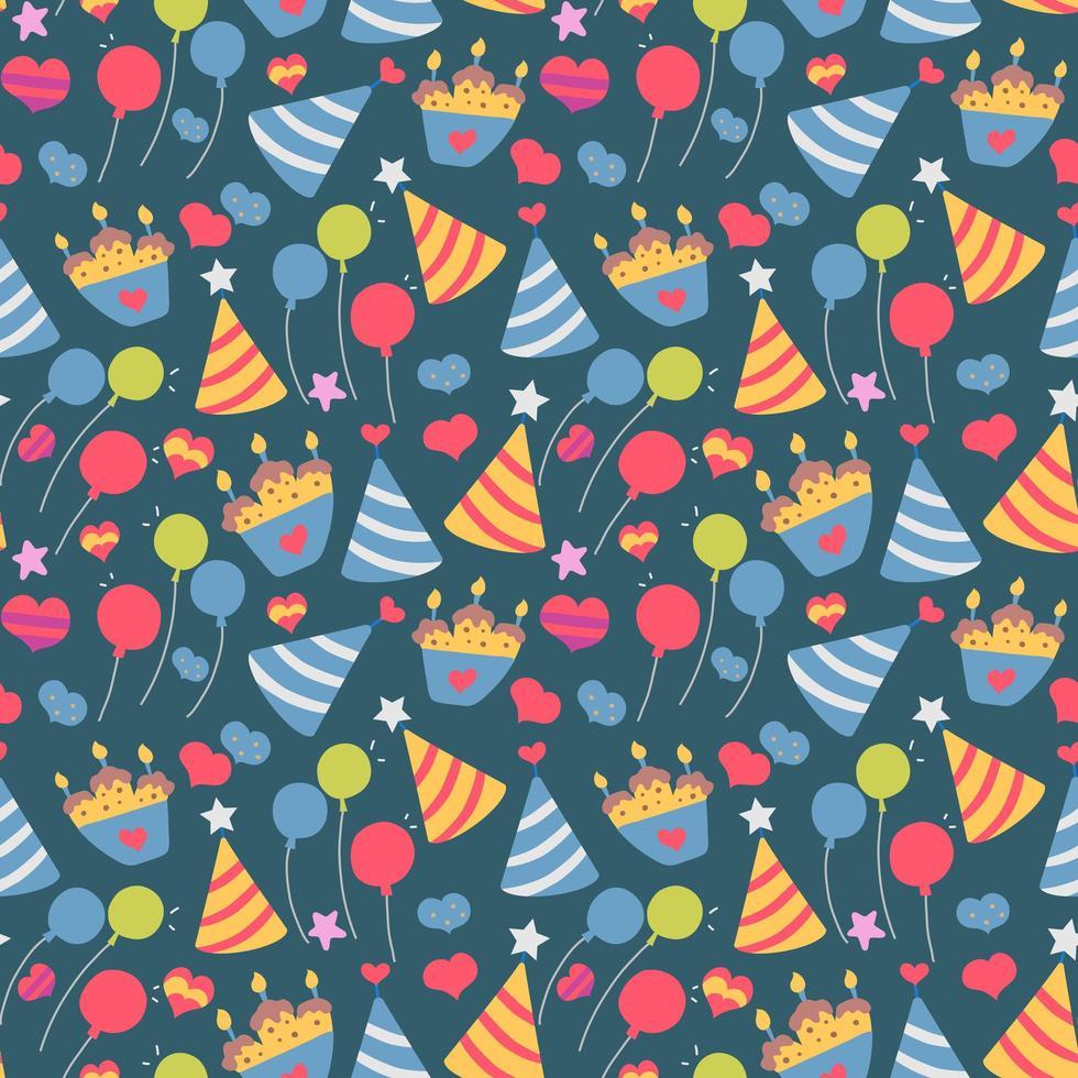 nahtloses niedliches Ballon- und Kuchenhintergrundmuster im Vektor