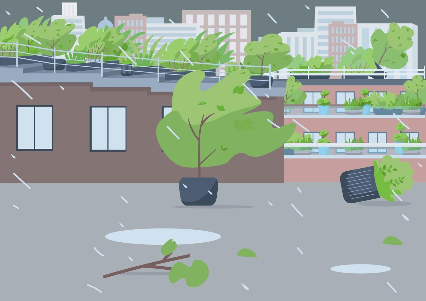 Regensturm auf leerer Straße vektor