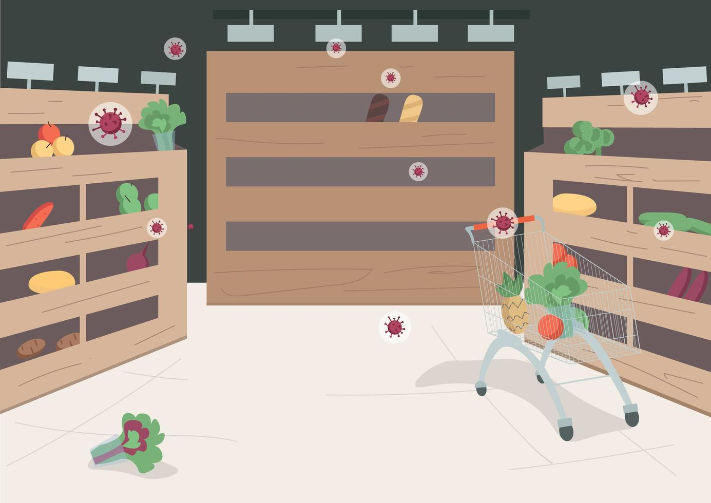 leerer Supermarkt wegen Covid vektor