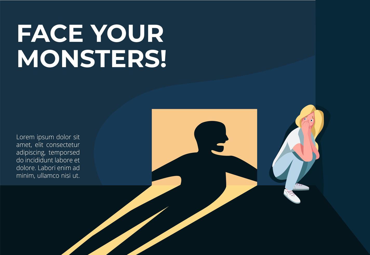 Stelle dich deinem Monster-Banner vektor