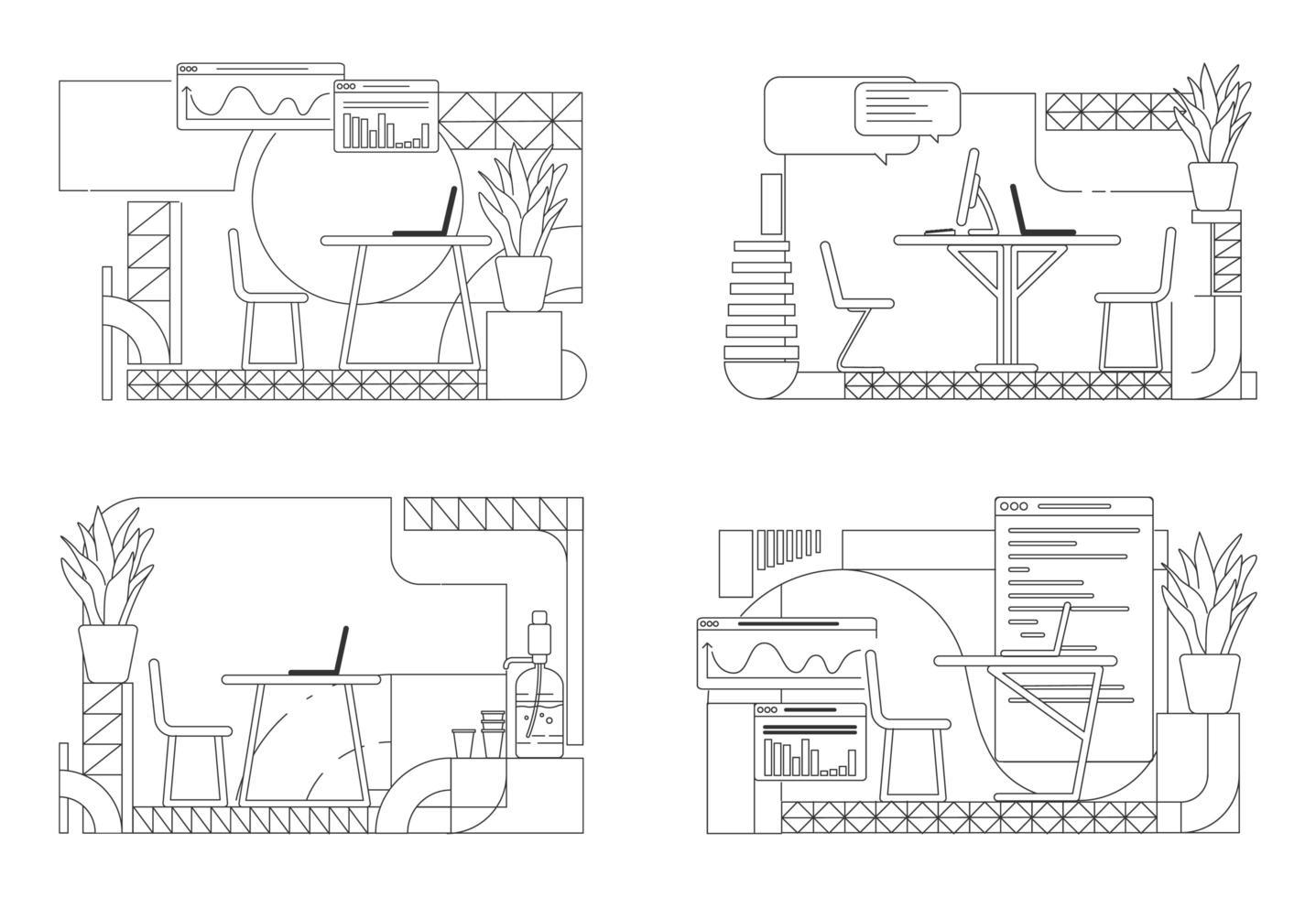 moderne Büro-Innenarchitektur Umriss vektor