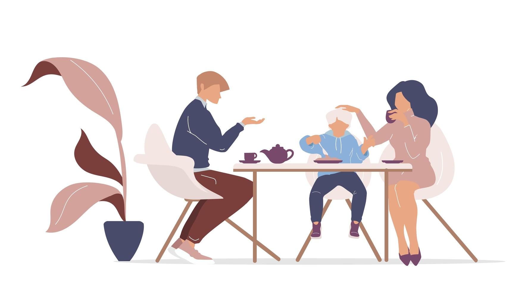 Familienfrühstück am Tisch vektor