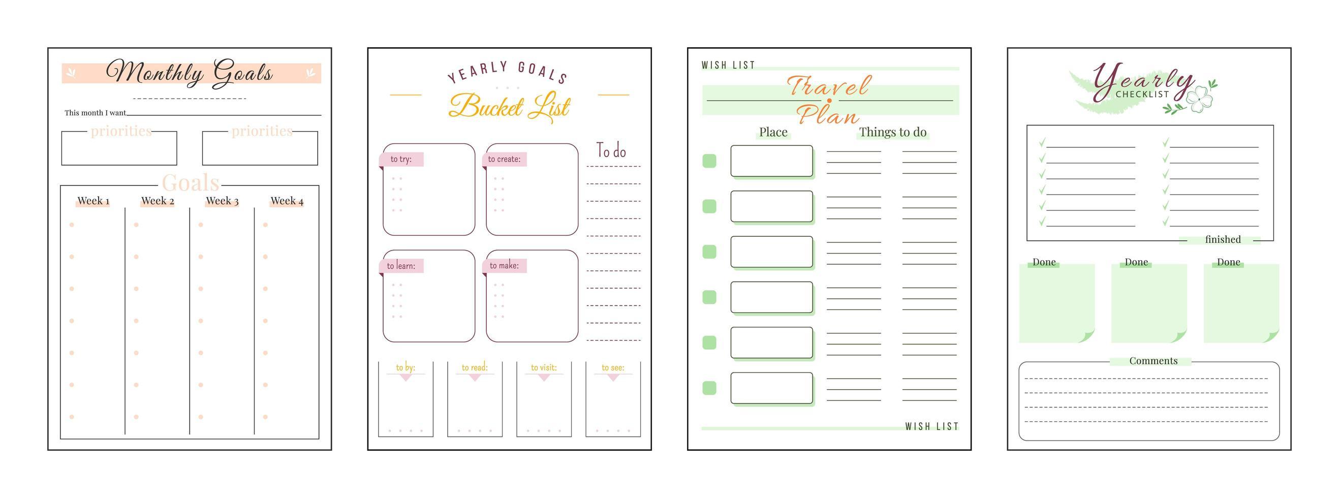 Ziele und Wünsche minimalistischer Planer Seitensatz vektor