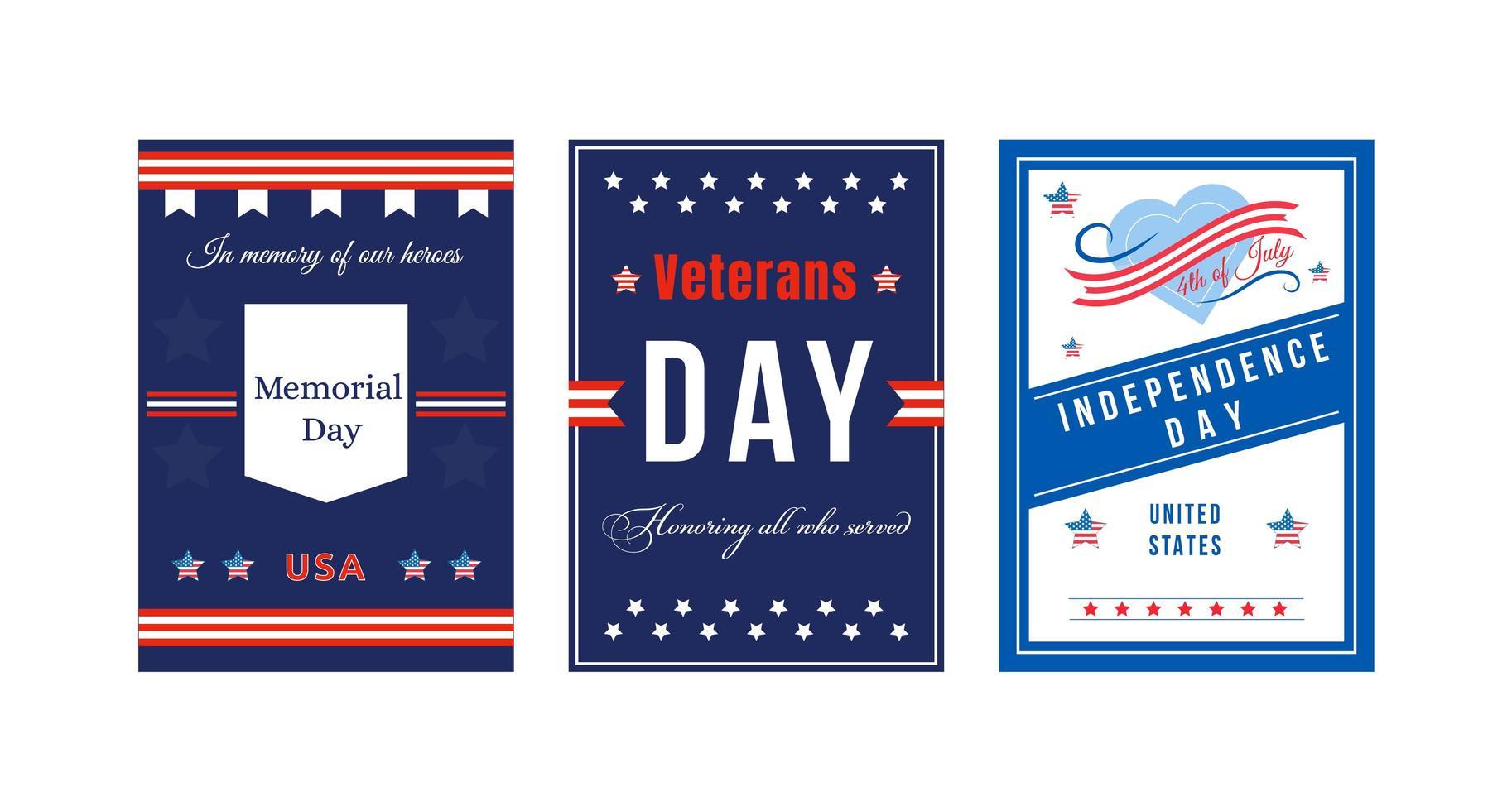 American Holiday Poster Set vektor