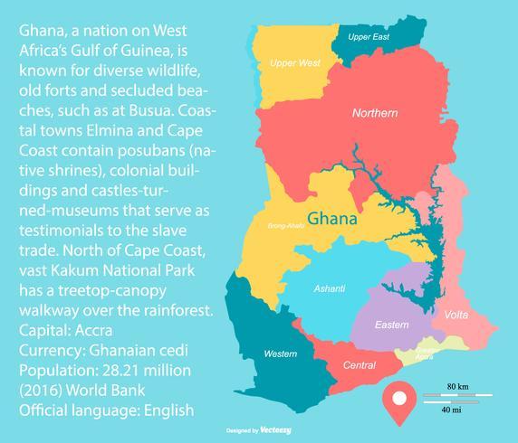 Färgglada Ghana karta med regioner vektor