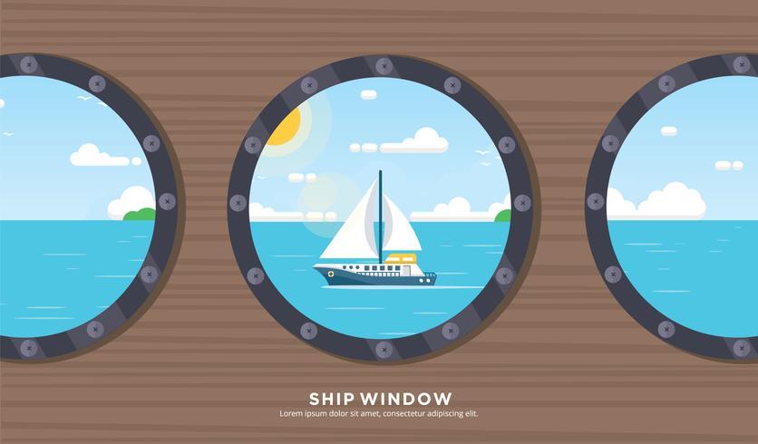 Free Ship Fenster Vektor