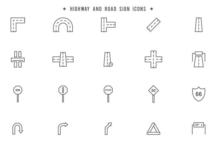 Highway och vägskyltar vektorer