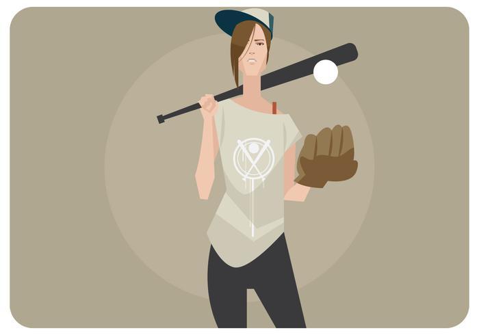 softball girl vektor