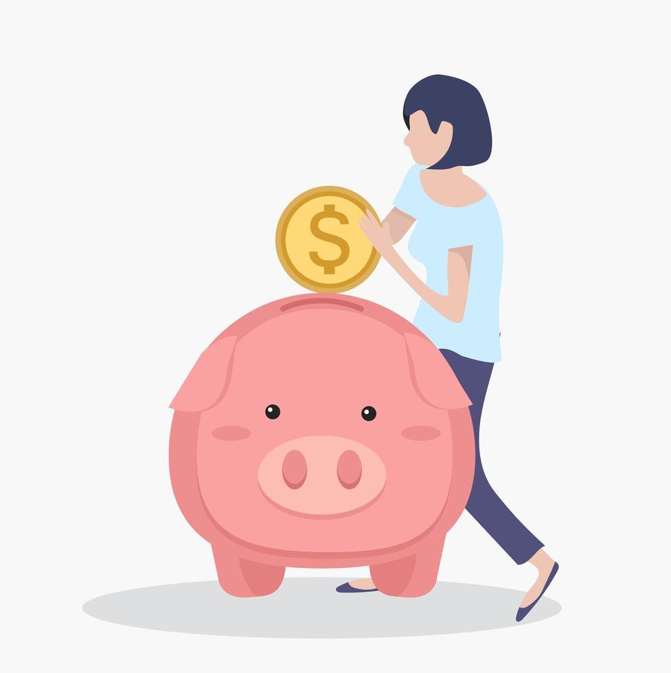 Frau setzt Münz Sparschwein vektor