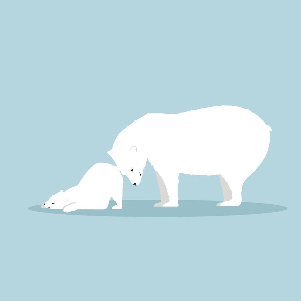 Eisbär mit Jungtiervektor vektor
