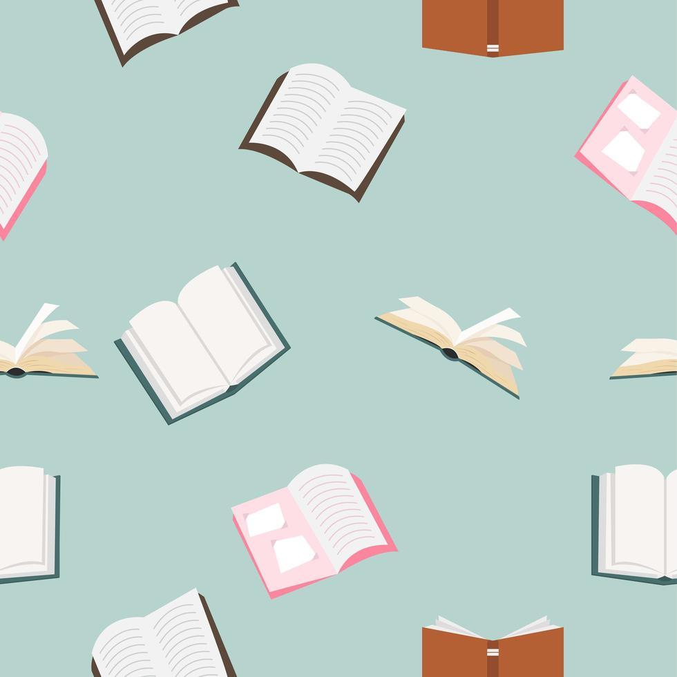 offene Bücher Vektor nahtloses Muster