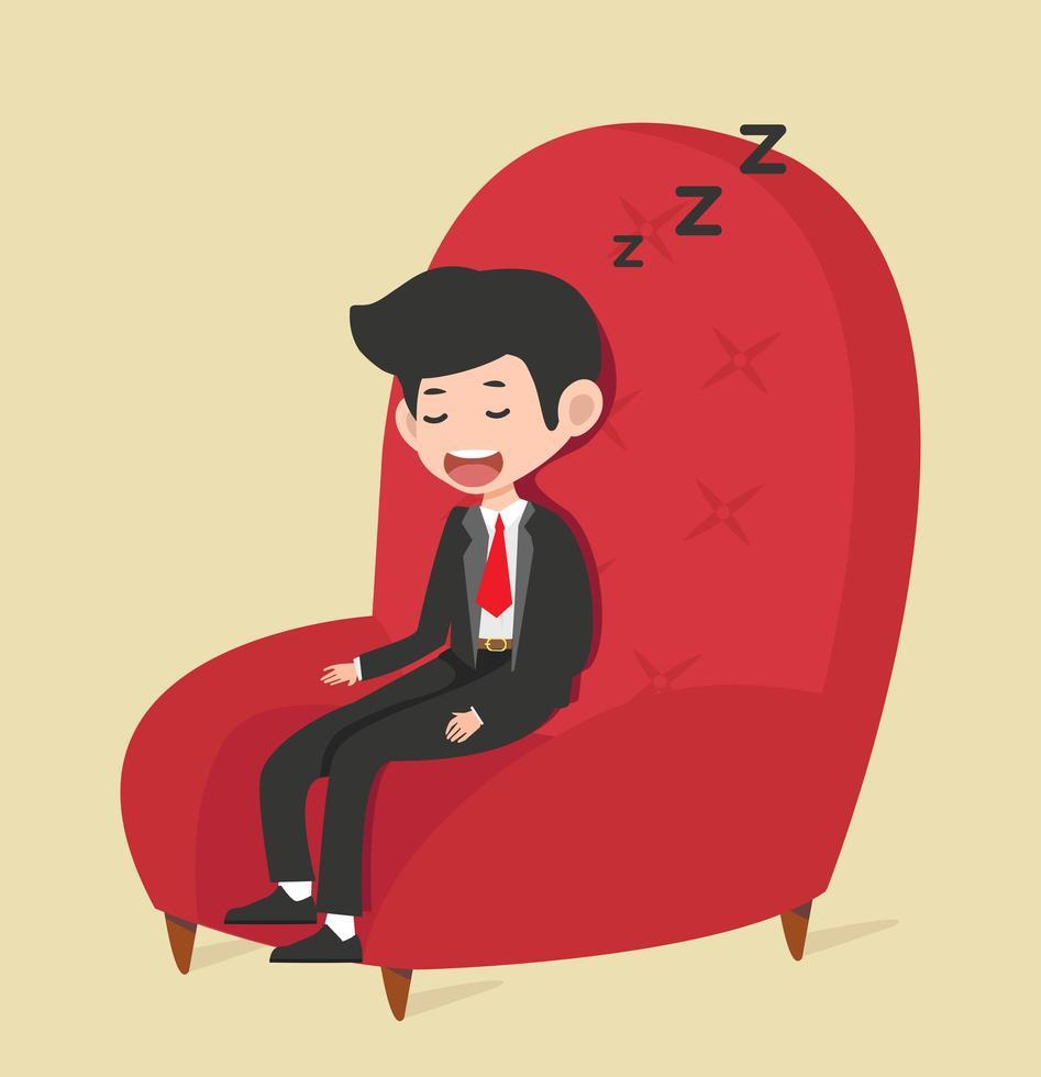 Geschäftsmann, der im roten Stuhl schläft vektor