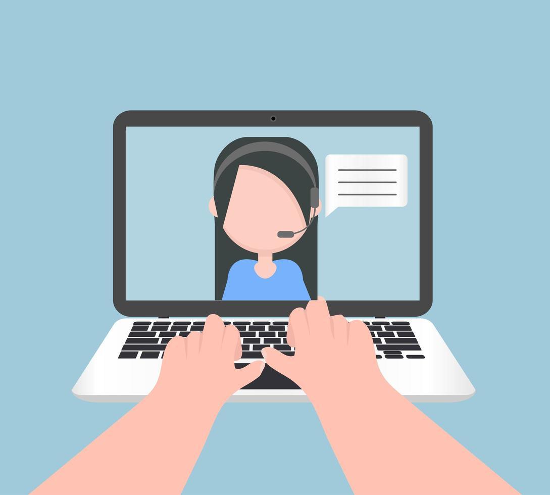 Laptop Notebook Hand Eingabe E-Learning Konzept Design vektor