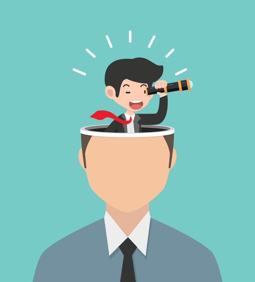Geschäftsmann mit einem Teleskop auf Kopfkonzept vektor