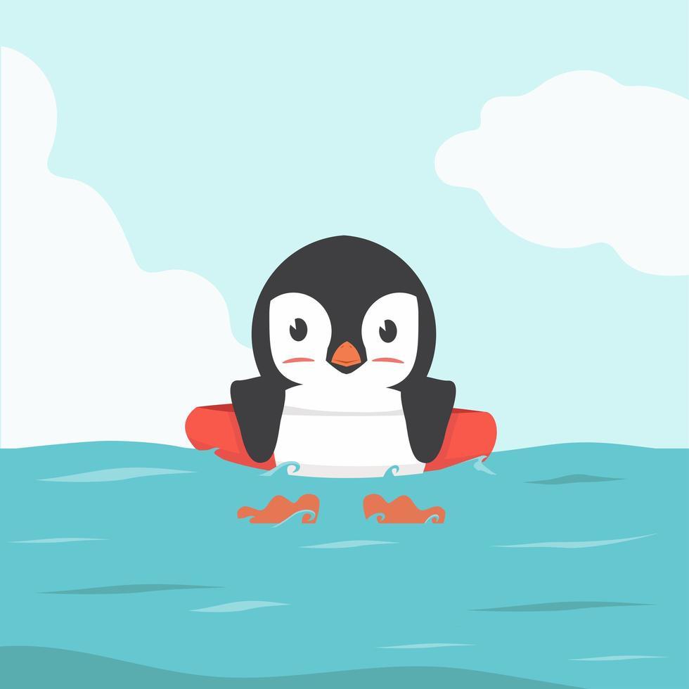 aufblasbarer Ring-Cartoon des Pinguinschwimmens vektor