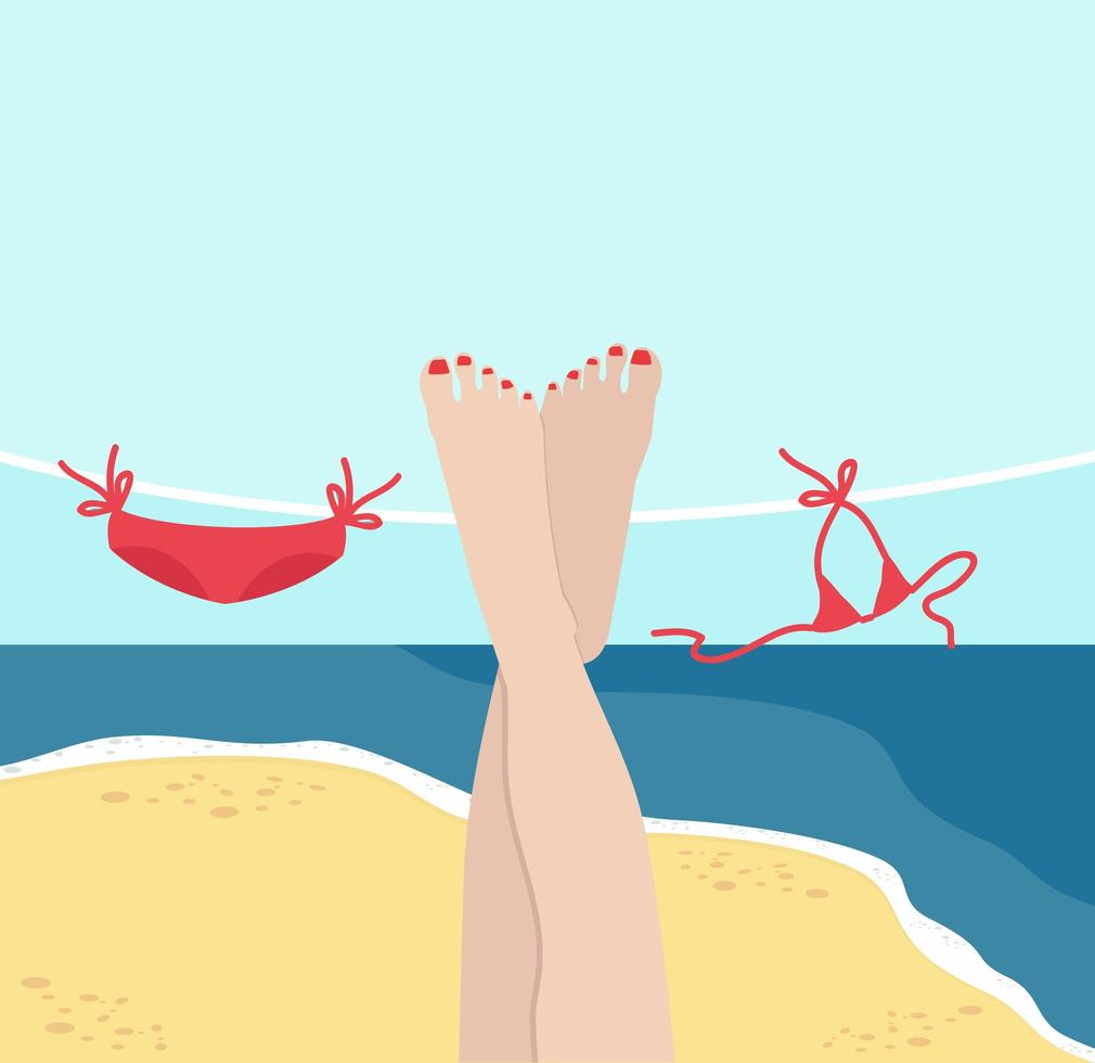 Beine der Frau mit Sommerstrandhintergrund vektor