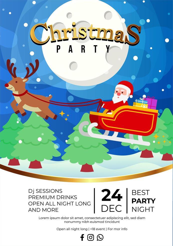 Weihnachtsfeier-Ereignisplakatdesign mit niedlichem Weihnachtsmann vektor