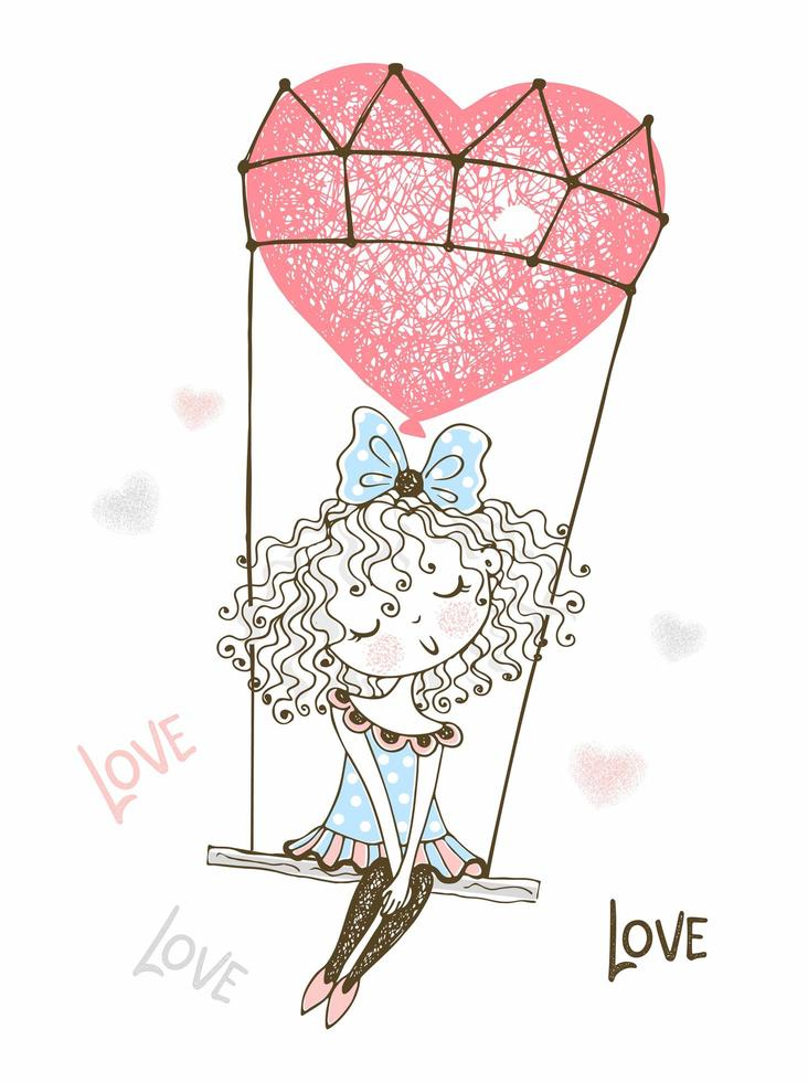süßes Mädchen fliegt auf einem Ballon vektor