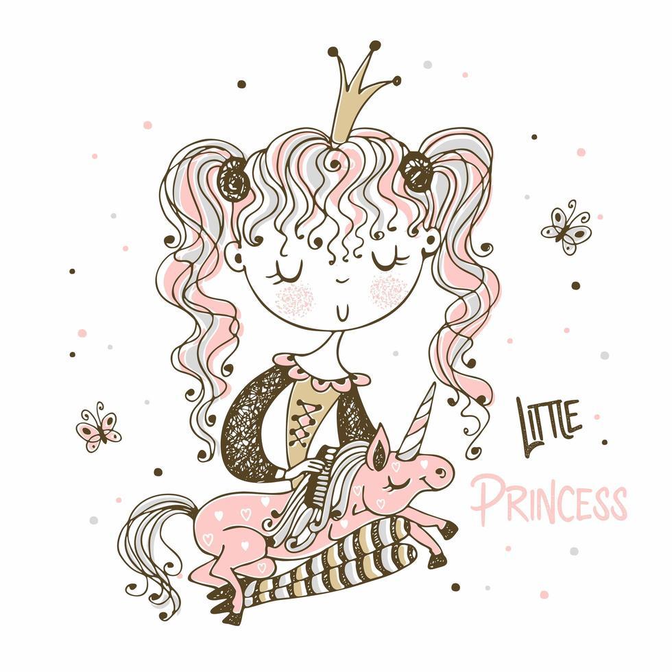 kleine Prinzessin kämmt die Mähne ihres Einhorns vektor