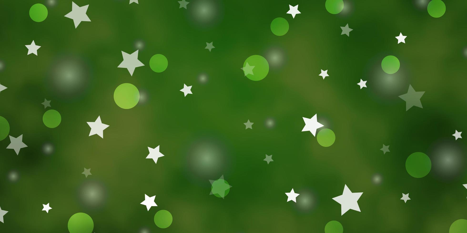 hellgrüner Hintergrund mit Kreisen, Sternen. vektor