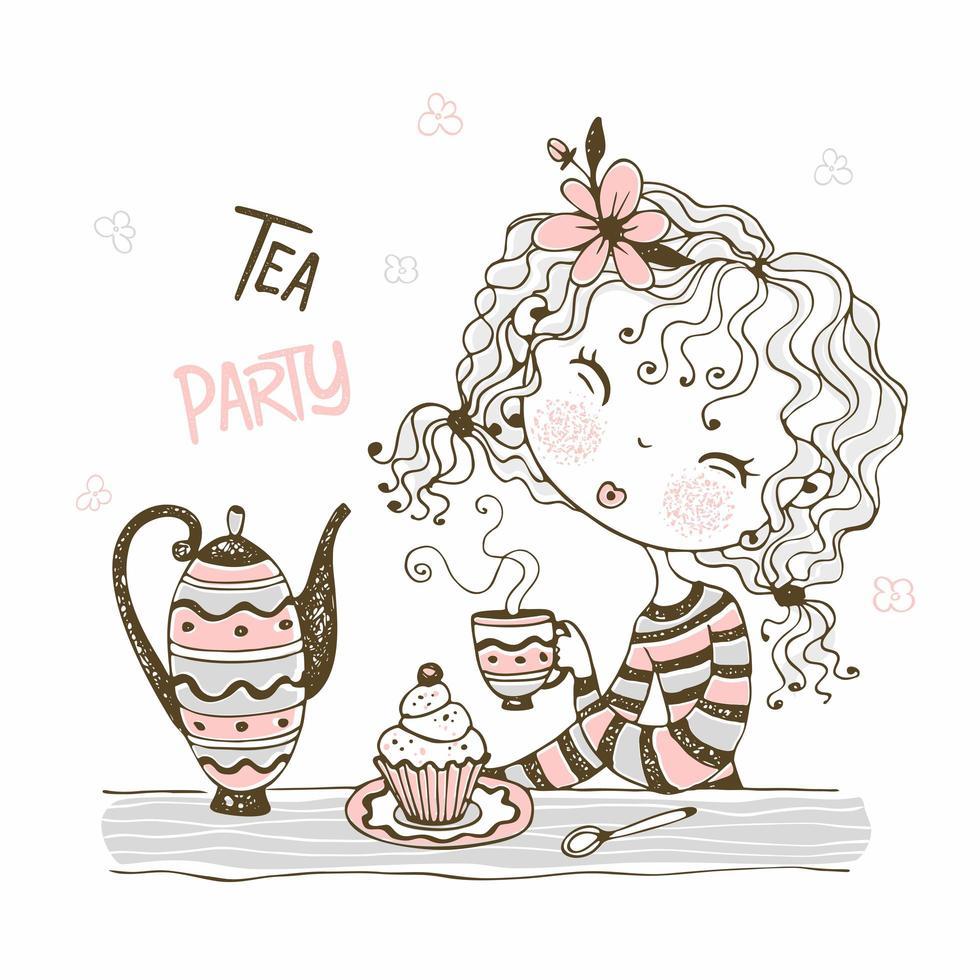 süßes Mädchen, das Tee trinkt. Tee-Party vektor