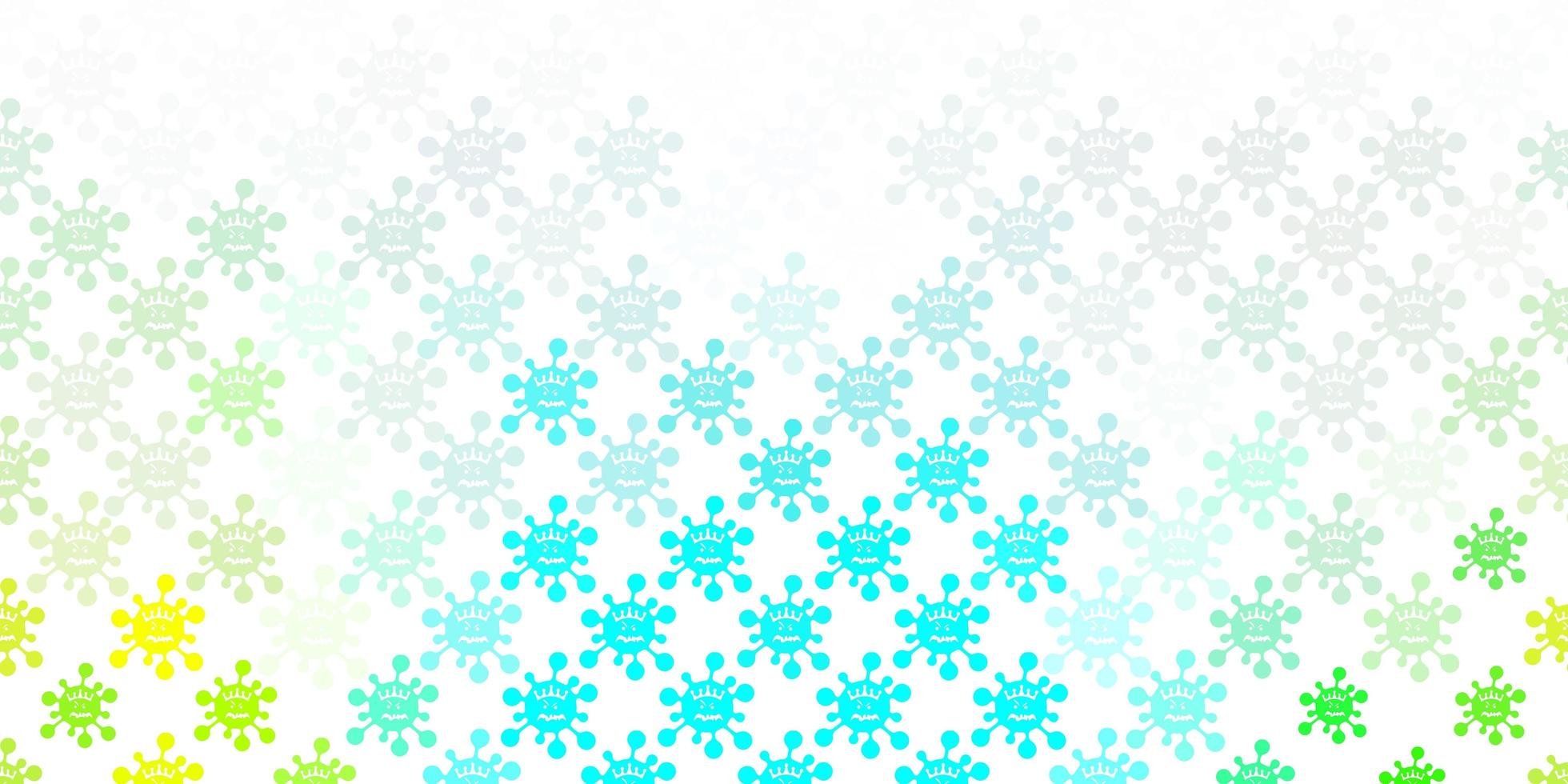 hellblaues, grünes Muster mit Coronavirus-Elementen. vektor