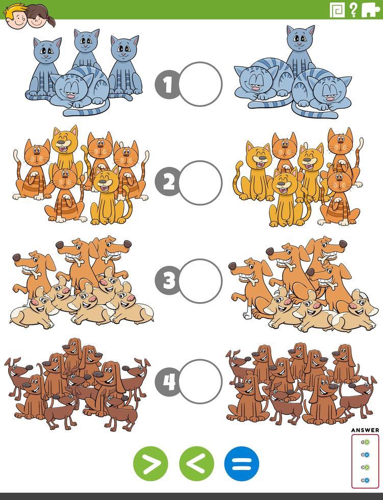 größere weniger oder gleiche pädagogische Aufgabe mit Haustieren vektor