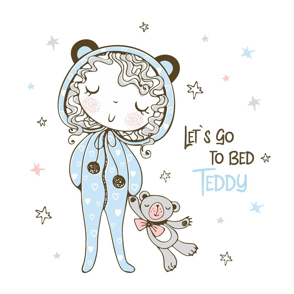 Mädchen geht mit Teddybär schlafen vektor