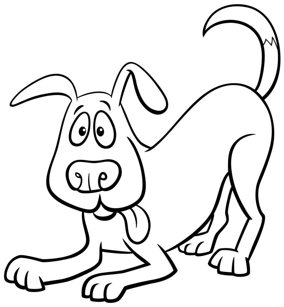 Cartoon Hund Charakter Malbuch Seite vektor