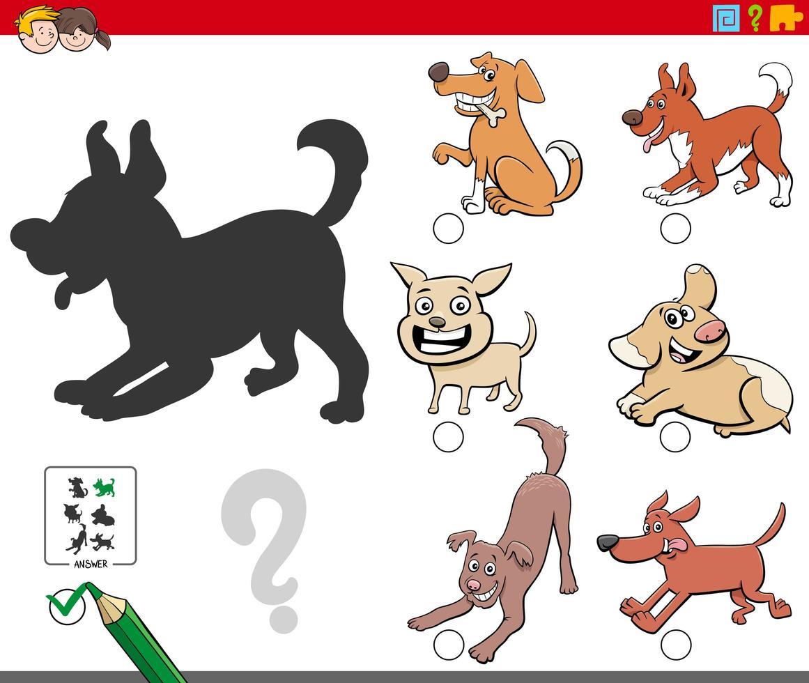 Schattenaufgabe mit verspielten Hundecharakteren vektor