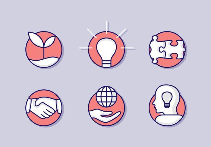 Rote flache Integrität Icon Set vektor