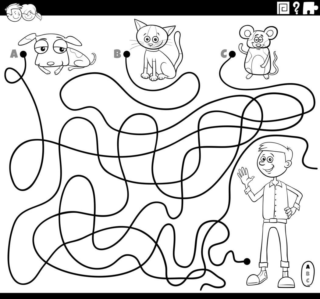 Labyrinth mit Jungen und Haustieren Malbuchseite vektor